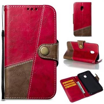 Retro Magnetic Stitching Wallet Flip Cover for Samsung Galaxy J3 2017 J330 Eurasian - Rose Red