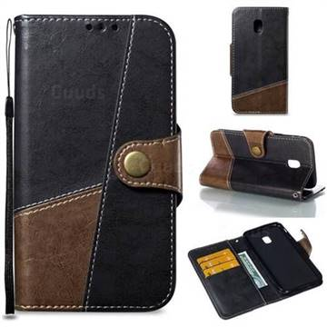 Retro Magnetic Stitching Wallet Flip Cover for Samsung Galaxy J3 2017 J330 Eurasian - Dark Gray