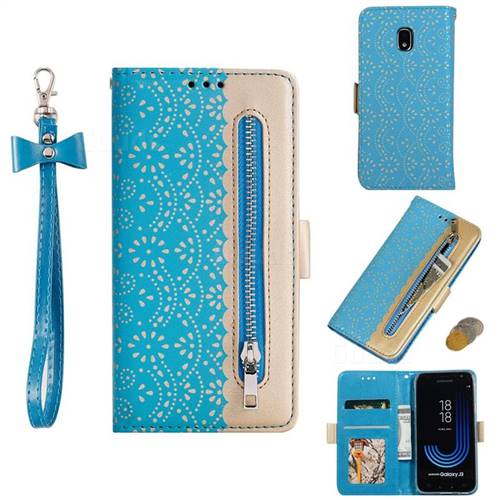 Luxury Lace Zipper Stitching Leather Phone Wallet Case for Samsung Galaxy J3 2017 J330 Eurasian - Blue