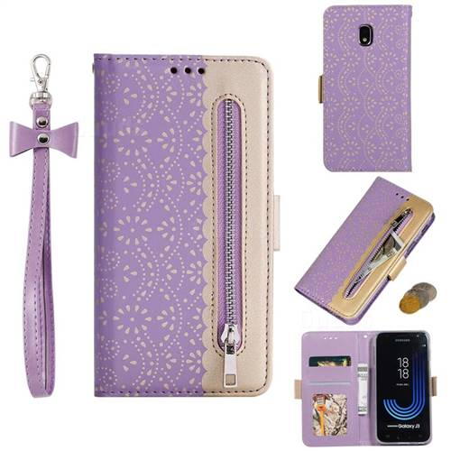 Luxury Lace Zipper Stitching Leather Phone Wallet Case for Samsung Galaxy J3 2017 J330 Eurasian - Purple