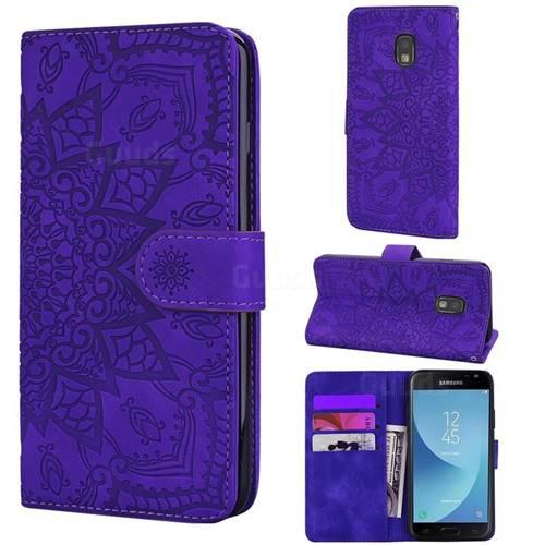 Retro Embossing Mandala Flower Leather Wallet Case for Samsung Galaxy J3 2017 J330 Eurasian - Purple