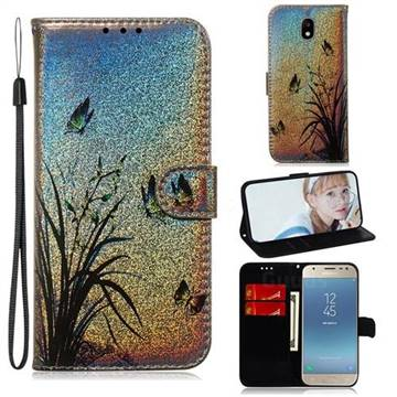 Butterfly Orchid Laser Shining Leather Wallet Phone Case for Samsung Galaxy J3 2017 J330 Eurasian