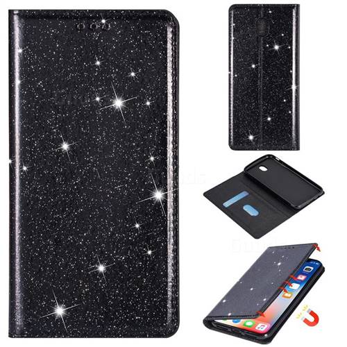 Ultra Slim Glitter Powder Magnetic Automatic Suction Leather Wallet Case for Samsung Galaxy J3 2017 J330 Eurasian - Black