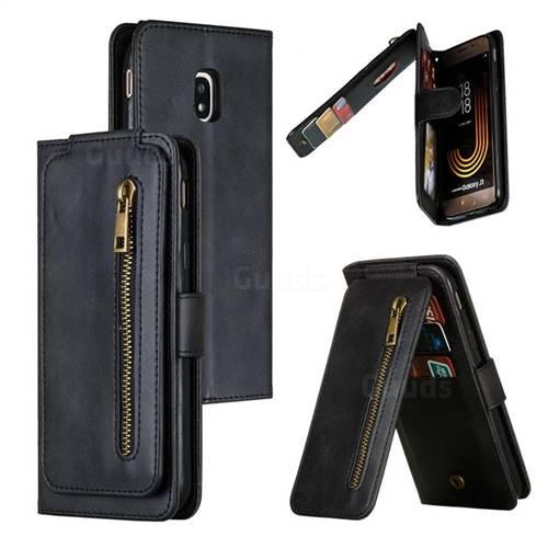 Multifunction 9 Cards Leather Zipper Wallet Phone Case for Samsung Galaxy J3 2017 J330 Eurasian - Black