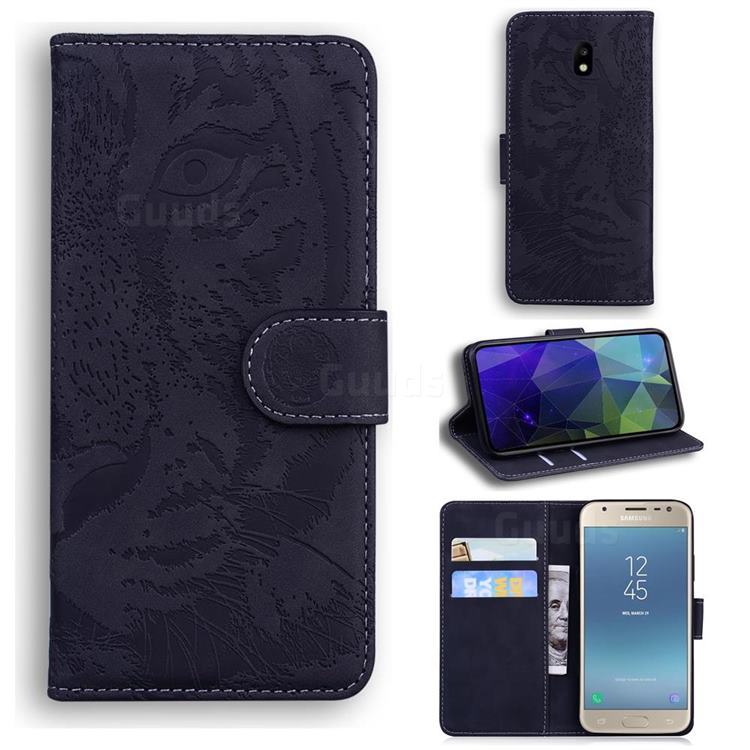Intricate Embossing Tiger Face Leather Wallet Case for Samsung Galaxy J3 2017 J330 Eurasian - Black