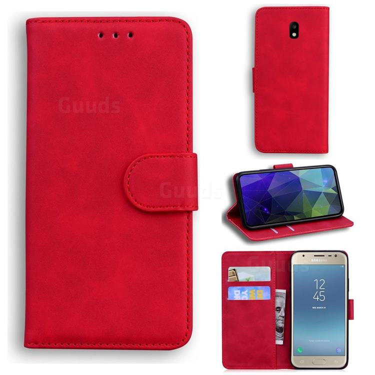 Retro Classic Skin Feel Leather Wallet Phone Case for Samsung Galaxy J3 2017 J330 Eurasian - Red
