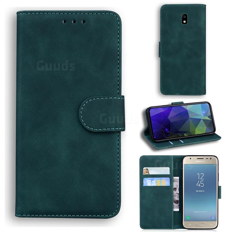 Retro Classic Skin Feel Leather Wallet Phone Case for Samsung Galaxy J3 2017 J330 Eurasian - Green