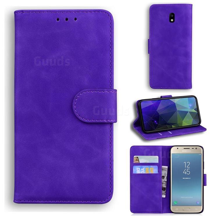 Retro Classic Skin Feel Leather Wallet Phone Case for Samsung Galaxy J3 2017 J330 Eurasian - Purple