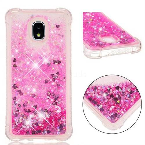 Dynamic Liquid Glitter Sand Quicksand TPU Case for Samsung Galaxy J3 (2018) - Pink Love Heart