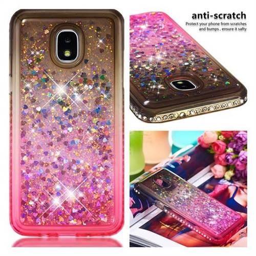 Diamond Frame Liquid Glitter Quicksand Sequins Phone Case for Samsung Galaxy J3 (2018) - Gray Pink