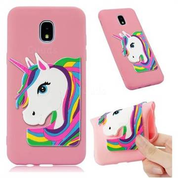 Rainbow Unicorn Soft 3D Silicone Case for Samsung Galaxy J3 (2018) - Pink