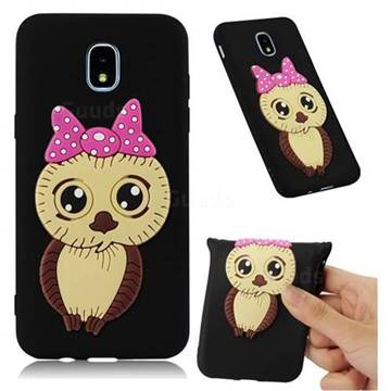 Bowknot Girl Owl Soft 3D Silicone Case for Samsung Galaxy J3 (2018) - Black