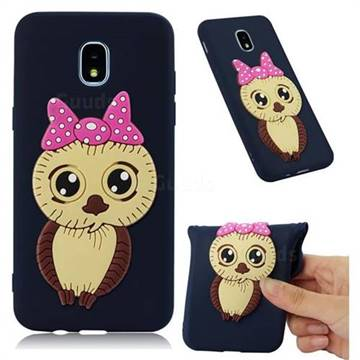 Bowknot Girl Owl Soft 3D Silicone Case for Samsung Galaxy J3 (2018) - Navy