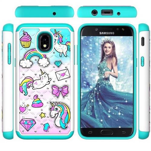 Fashion Unicorn Studded Rhinestone Bling Diamond Shock Absorbing Hybrid Defender Rugged Phone Case Cover for Samsung Galaxy J3 (2018)