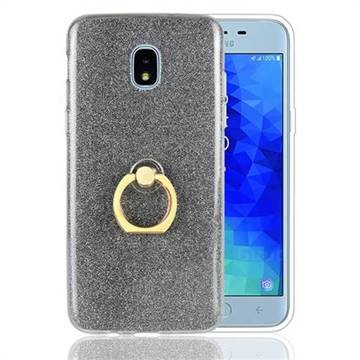 Luxury Soft TPU Glitter Back Ring Cover with 360 Rotate Finger Holder Buckle for Samsung Galaxy J3 (2018) - Black