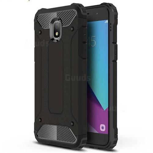 King Kong Armor Premium Shockproof Dual Layer Rugged Hard Cover for Samsung Galaxy J3 (2018) - Black Gold