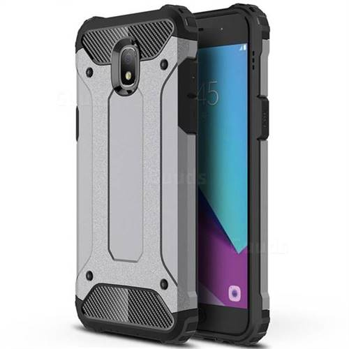 King Kong Armor Premium Shockproof Dual Layer Rugged Hard Cover for Samsung Galaxy J3 (2018) - Silver Grey