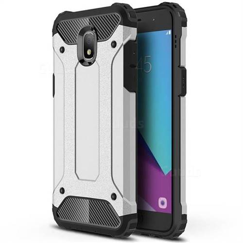 King Kong Armor Premium Shockproof Dual Layer Rugged Hard Cover for Samsung Galaxy J3 (2018) - Technology Silver