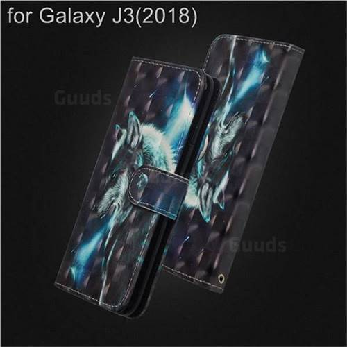 Snow Wolf 3D Painted Leather Wallet Case for Samsung Galaxy J3 (2018)