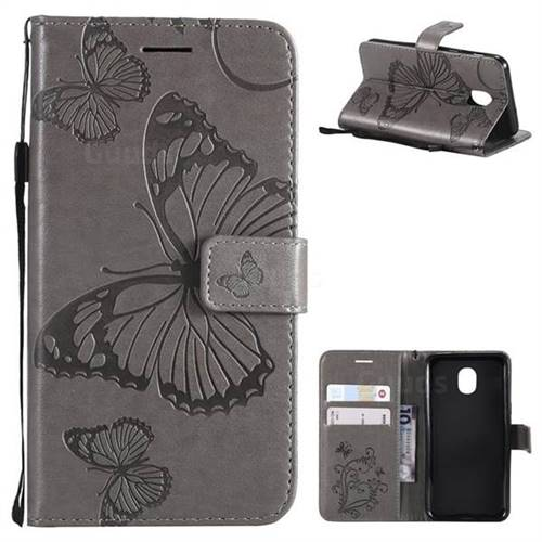Embossing 3D Butterfly Leather Wallet Case for Samsung Galaxy J3 (2018) - Gray