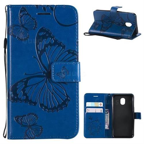 Embossing 3D Butterfly Leather Wallet Case for Samsung Galaxy J3 (2018) - Blue