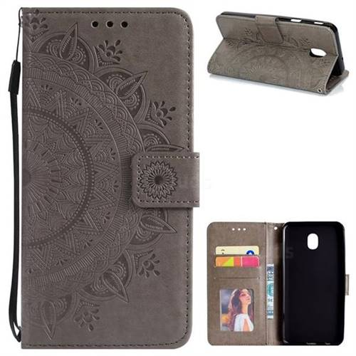 Intricate Embossing Datura Leather Wallet Case for Samsung Galaxy J3 (2018) - Gray