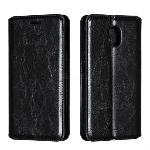 Retro Slim Magnetic Crazy Horse PU Leather Wallet Case for Samsung Galaxy J3 (2018) - Black