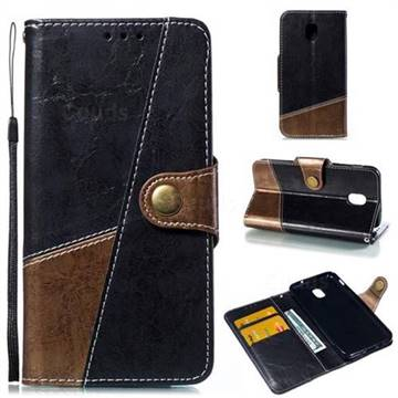 Retro Magnetic Stitching Wallet Flip Cover for Samsung Galaxy J3 (2018) - Dark Gray