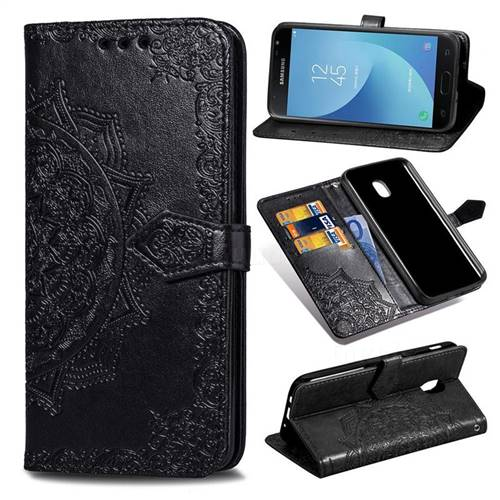 Embossing Imprint Mandala Flower Leather Wallet Case for Samsung Galaxy J3 (2018) - Black