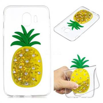 Gold Pineapple Liquid Quicksand Soft 3D Cartoon Case for Samsung Galaxy J4 (2018) SM-J400F