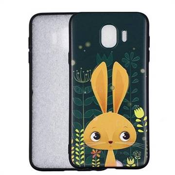 Cute Rabbit 3D Embossed Relief Black Soft Back Cover for Samsung Galaxy J4 (2018) SM-J400F