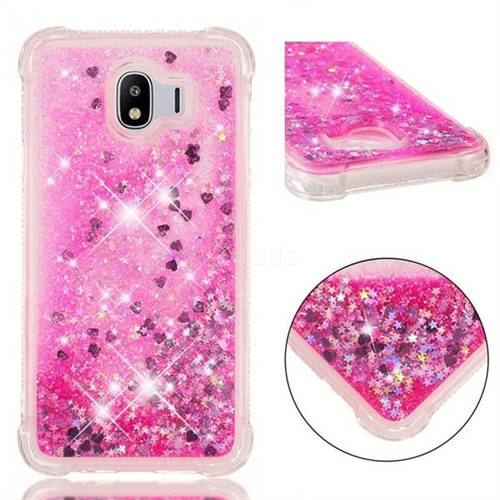 Dynamic Liquid Glitter Sand Quicksand TPU Case for Samsung Galaxy J4 (2018) SM-J400F - Pink Love Heart
