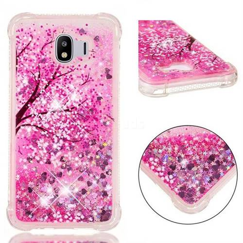 Pink Cherry Blossom Dynamic Liquid Glitter Sand Quicksand Star TPU Case for Samsung Galaxy J4 (2018) SM-J400F