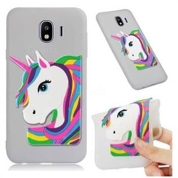 Rainbow Unicorn Soft 3D Silicone Case for Samsung Galaxy J4 (2018) SM-J400F - Translucent White