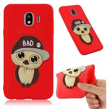 Bad Boy Owl Soft 3D Silicone Case for Samsung Galaxy J4 (2018) SM-J400F - Red