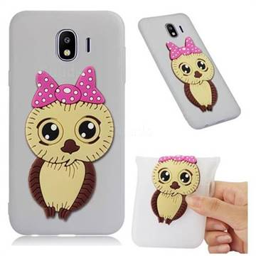 Bowknot Girl Owl Soft 3D Silicone Case for Samsung Galaxy J4 (2018) SM-J400F - Translucent White