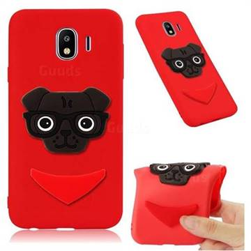 Glasses Dog Soft 3D Silicone Case for Samsung Galaxy J4 (2018) SM-J400F - Red