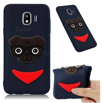 Glasses Dog Soft 3D Silicone Case for Samsung Galaxy J4 (2018) SM-J400F - Navy