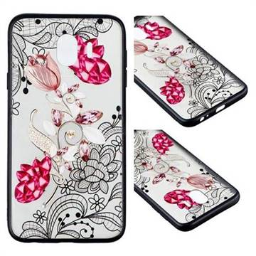 Tulip Lace Diamond Flower Soft TPU Back Cover for Samsung Galaxy J4 (2018) SM-J400F