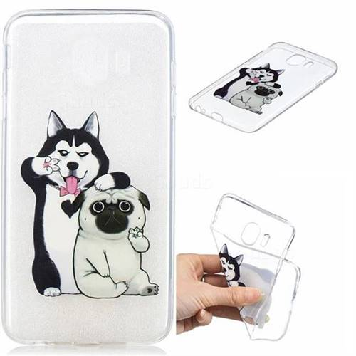 Selfie Dog Clear Varnish Soft Phone Back Cover for Samsung Galaxy J4 (2018) SM-J400F