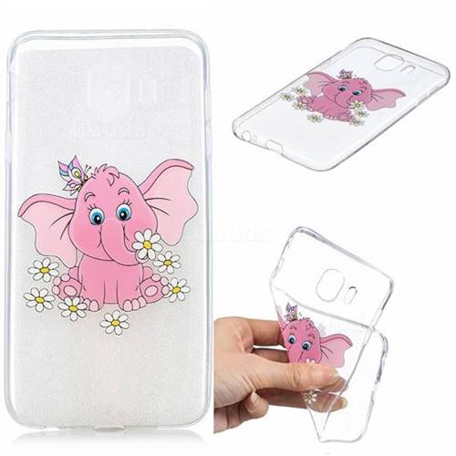 Tiny Pink Elephant Clear Varnish Soft Phone Back Cover for Samsung Galaxy J4 (2018) SM-J400F