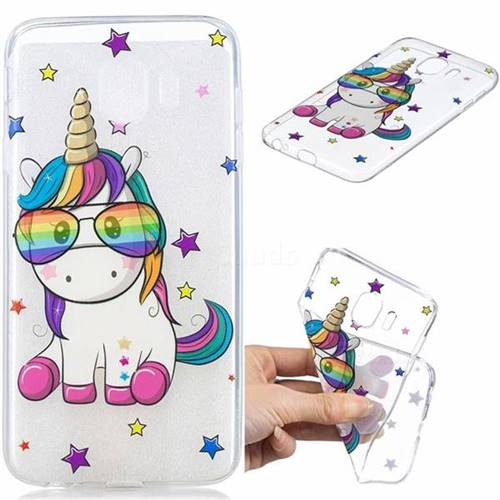 Glasses Unicorn Clear Varnish Soft Phone Back Cover for Samsung Galaxy J4 (2018) SM-J400F