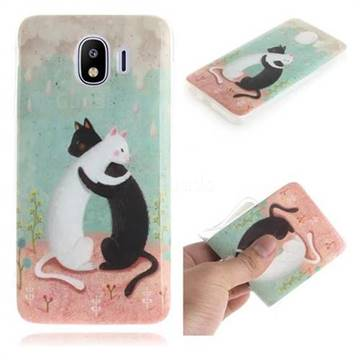 Black and White Cat IMD Soft TPU Cell Phone Back Cover for Samsung Galaxy J4 (2018) SM-J400F