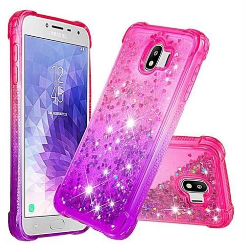 Rainbow Gradient Liquid Glitter Quicksand Sequins Phone Case for Samsung Galaxy J4 (2018) SM-J400F - Pink Purple