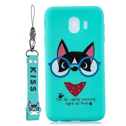 Green Glasses Dog Soft Kiss Candy Hand Strap Silicone Case for Samsung Galaxy J4 (2018) SM-J400F