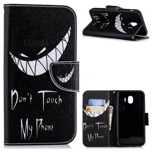 Crooked Grin Leather Wallet Case for Samsung Galaxy J4 (2018) SM-J400F