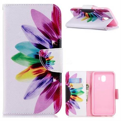 Seven-color Flowers Leather Wallet Case for Samsung Galaxy J4 (2018) SM-J400F