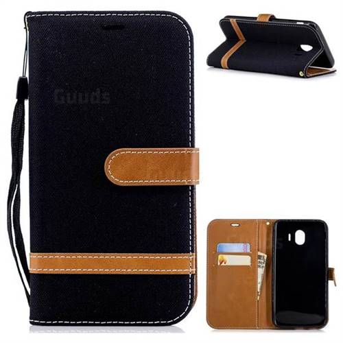 Jeans Cowboy Denim Leather Wallet Case for Samsung Galaxy J4 (2018) SM-J400F - Black