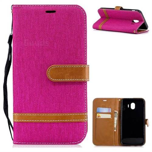 Jeans Cowboy Denim Leather Wallet Case for Samsung Galaxy J4 (2018) SM-J400F - Rose