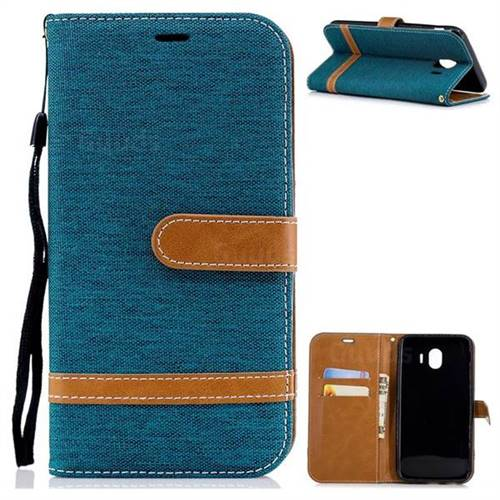 Jeans Cowboy Denim Leather Wallet Case for Samsung Galaxy J4 (2018) SM-J400F - Green